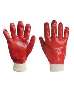 MAIN MAN WARRIOR RED PVC GLOVE KNITTED WRIST