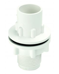 WO225 OVERFLOW 22MM STRAIGHT TANK CONNECTOR WHITE