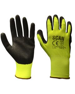SCAN YELLOW FOAM LATEX COATED GLOVE 13G SZ 9